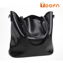 Toofn Handbag Long Strap Tote Bag,Retro Single Shoulder Bag with Large Capacity Black F