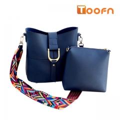 Toofn Handbag Rainbow Strap Shoulder Messenger Bag Blue F