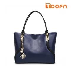 Toofn Handbag High Class PU Leather Women Tote Bag blue f
