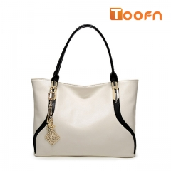 Toofn Handbag High Class PU Leather Women Tote Bag white f