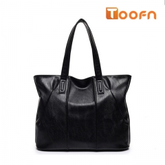 Toofn Handbag Large Capacity Single Shoulder Bag for Women black f