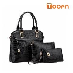 Toofn Handbag Fashion Composite Bag,Hand Bags for Women black f