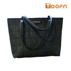 Toofn Handbag Solid Color PU Leather Tote Bags black f