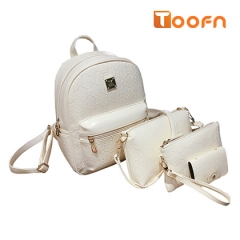 Toofn Handbag PU Leather Girls Backpack Bag white f