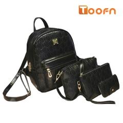 Toofn Handbag PU Leather Girls Backpack Bag black f