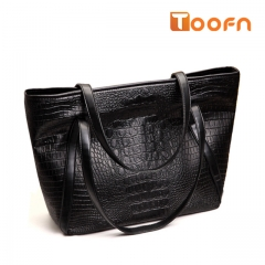 Toofn Handbag Female European and the United States Crocodile PU Leather Large Tote Bag black f