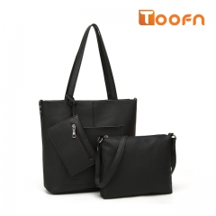 Toofn Handbag Solid Color Composite Bag,Woman Single Shoulder Bag black f