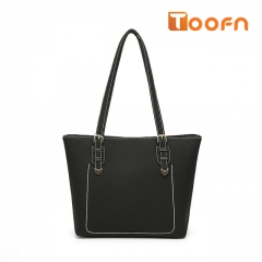 Toofn Handbag Popular Solid Color Practical Tote Bag,Ladies Shoulder Bag black f