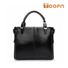 Toofn Handbag Solid Color Messenger Bag,Single Shoulder Bag black f