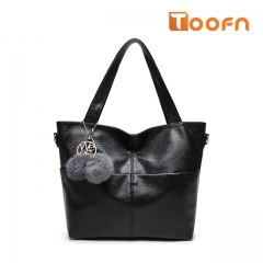 Toofn Handbag Simple Elegant Womens Tote Bags black f