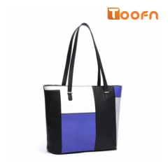 Toofn Handbag Multicolor Mosaic Handle Bag, PU Leather Shoulder Bag blue f