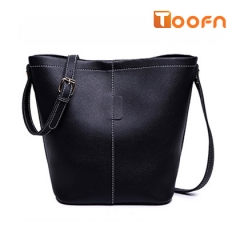 Toofn Handbag Solid Color 2pcs Bucket Bag, Women's Single Should Bags black f