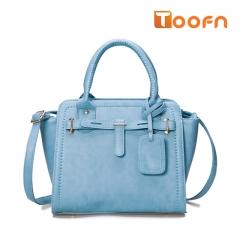 Toofn Handbag  Ladies Designer Leather Style Celebrity Tote Bag Handbag Blue F