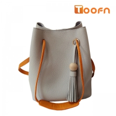 Toofn Handbag Tassel Single Shoulder Bag,Bucket Bag Gray F