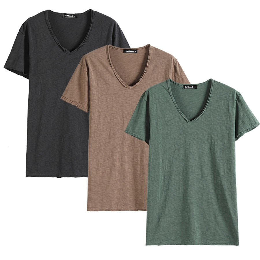 Gustomerd 3 Pieces Of Cotton T Shirt Mens Casual V Neck Solid Color