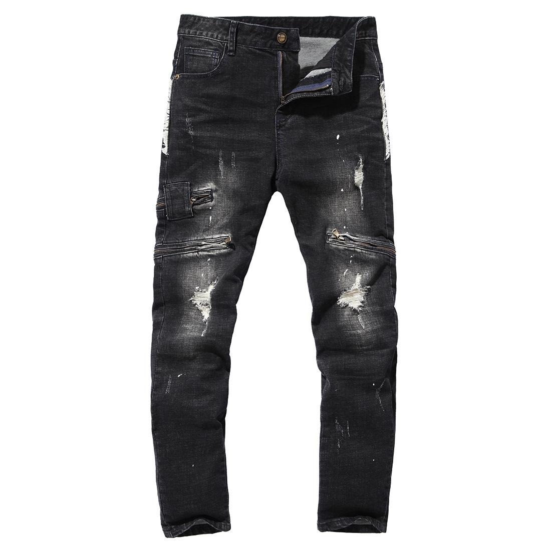 af8808f9163 2017 Pierced Men 's Jeans Cotton Jeans Pants Pocket Pants black 29 ...