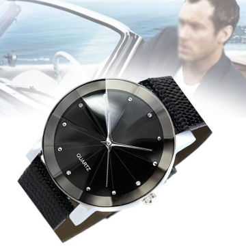 Sports Military Stainless Steel Dial Analog Leather Band Quartz Wrist WatchesG As Picture