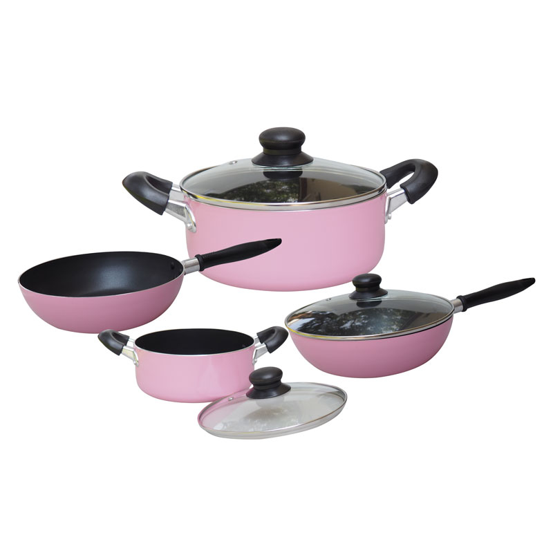 Non Stick Kitchen Set With Price: Pink Telken 7 Piece Non Stick Cookware Kitchen Set Pink