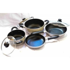 Telken 7 Piece Non Stick Cookware Kitchen Set Grey