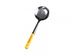 Kitchen Stainless steel  Skimmer Serving Spoon with Plastic Handle Yellow