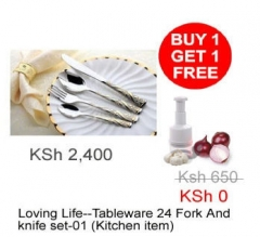 Loving Life--Tableware 24pcs Fork And knife set-01  + Free gift (Kitchen item)
