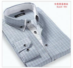 Port&Lotus Casual New Men dress shirts Striped Plaid Slim Fit Double Collar Long Sleeve 014 CXSL001 M
