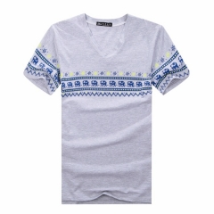 Port&Lotus Men T Shirt Brand New Print Men T Shirts Fitness V-neck Short Sleeve 052 wholesale gray M