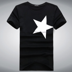 Port&Lotus Men T Shirt Brand New Summer Fashion 100% Cotton Casual Black Red Star Printed Fitness141 black M