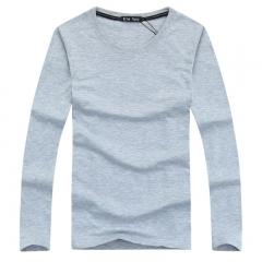 Port&Lotus Men T Shirt Long Sleeve Fashion Brand New Pure Color Fitness 139 gray M