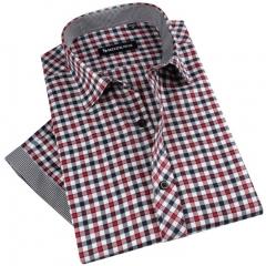 Port&Lotus Men Shirts new casual gray collar plaid stripe 057 men clothing mens clothes outdoor DXT02 M