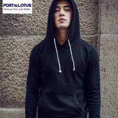 Port&Lotus Men sweater hoodies 100% Cotton Sweatshirt Mens gym Clothing Brand Clothing 001 5025 black M