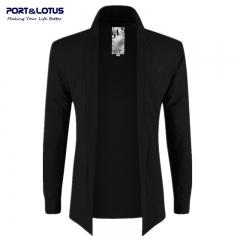 Men Fasion No Buttons Thin Jackets Open Stitch 083 black XL