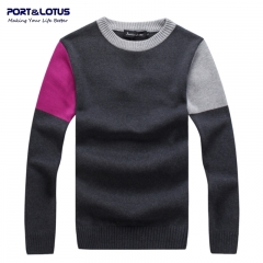 Men Sweater 100% Cotton Striped O-Neck Contrasted Pullover Brand Clothing Pullovers Sweaters YZ006 gray m