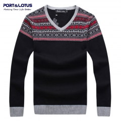 Men Sweater 100% Cotton Striped V-Neck Pullover Brand Clothing Pullovers Sweaters YZ005 dark gray l