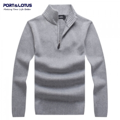 Port&Lotus Men Pullovers Sweaters 100% Cotton Mens Winter Sweater Mens Brand Clothing gray m