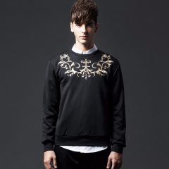 Port&Lotus Men Hoodies Brand New Arriving Fashion Long Sleeve Embroidery Casual 048 Mens Clothing black m