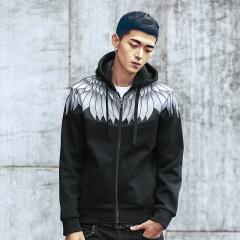 Port&Lotus Men Hoodies New Arrival Fashion Casual Active Long Sleeve Printed Men Clothing Mens 026 black XXXXL