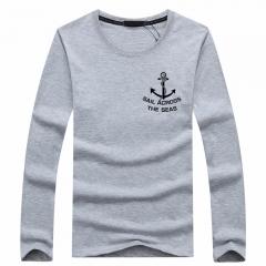Port&Lotus Men Long Sleeve O-Neck Men's T-Shirts Camisa Masculina Brand Male Apparel Casual  SD072 gray m
