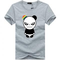 Port&Lotus Cotton Short Sleeves Men T-Shirt For Young Character Panda O-Neck Men  8 Colors SD005 gray m