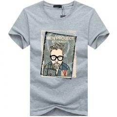 Port&Lotus Cotton Men T-Shirt O-Neck Short Sleeves Camisetas Camisa Masculina 5XL 8 Colors SD006 gray m