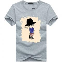 Port&Lotus Cotton Men T-Shirt O-Neck Fashion Camisetas Camisa Masculina Short Sleeves 5XL Mens SD007 gray m
