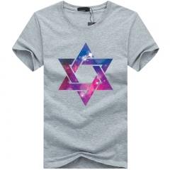 Port&Lotus Men T Shirts Short Star Printed Summer T-Shirt Men Clothing O-Neck Cotton Camisetas SD010 gray m