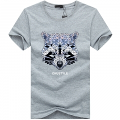 Port&Lotus Cotton Short T-Shirt Men O-Neck Printed Diamond Bear Camisetas Camisa  SD013 gray m