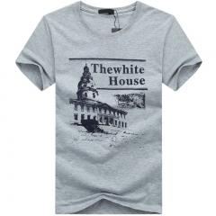 PORT&LOTUS T-Shirt O-Neck Cotton T Shirts Fashion Men T Shirt Designers Casual Tshirt Youth  SD023 gray m