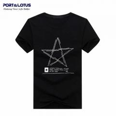 Port&Lotus Men T Shirt Cotton Men 's Clothes Fashion Brand New Leisure Loose LetterSD027 gray m
