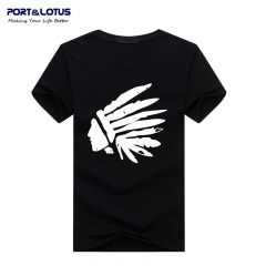 Port&Lotus Men T Shirt Cotton Fashion Brand New Leisure Loose Letter Printing SD028 gray m