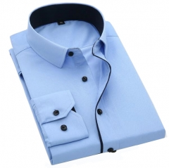 Color Contrasted Men Dress Shirts Sky Blue AM705 am705 xl