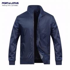 Port&Lotus Men Blue Jacket New Spring Autumn Casual Thin Outdoor Men Coats Solid Fashion 010 dark blue m
