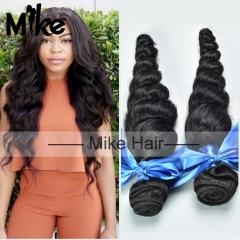 2 bundles loose wave human hair extensions Brazilian virgin hair weaves,100grams/piece 1B 6 6 inch