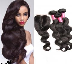 3 piece Brazilian human hair weaves with a lace closure body wave virgin hair 1B 10 10 10+8